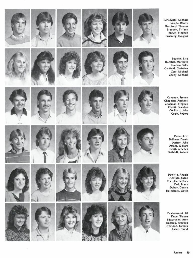 muskego high school class of 1988 junior year 1987